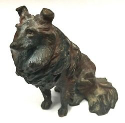Antique Austrian Cold Painted Bronze Collie Dog Lassie In The Style Of Bergman