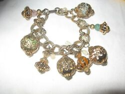 Moroccan Influenced Large Link Chain Charm Bracelet Censers Genie Bottles