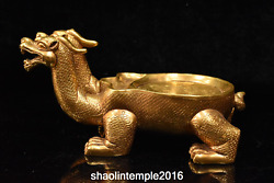 Rare China Antique Gold Plated Copper Double Headed Dragon Turtle