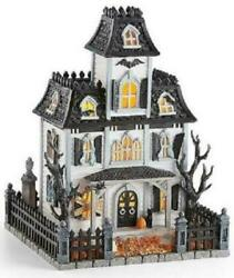 Lenox Halloween Lighted Haunted Mansion House W/ Sound Witch Cries Black Cat Nib