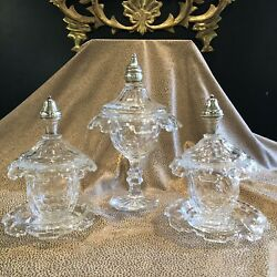 Set Of 3 Early 19th Century Clear Glass Sweet Meat Compotes W/ Sterling Detail