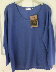 Habitat Clothes To Live In Small Cozy Top Blue 3/4 Sleeve Ribbed Relaxed Fit Nwt