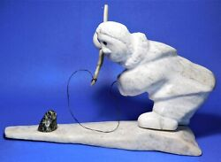 Inuit Eskimo Marble Stone Sculpture/carving Seal Hunter By Nujalia Tunnillie