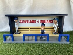 Cleveland Indians Baseball Bobblehead Dugout Display Case Bench