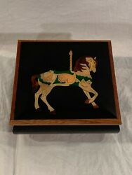 C. Industries Carousel Waltz Horse Footed Music Box Approx. 6 Square
