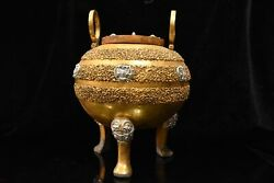 Collection China Bronze Gilded With Gold And Silver Color Painting Tripod Pot
