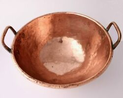 Large Antique French Copper Chocolate Mixing Bowl. Wine Cooler, Fruit. Handles