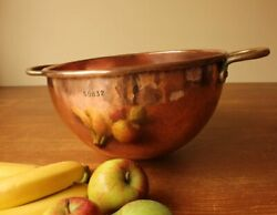 French Copper Antique Chocolate Mixing Bowl. Vintage Table Decor. Fruit Bowl