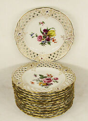 Set Of 12 Antique Porcelain Hand Painted Plates Gilman Collamore And Co New York