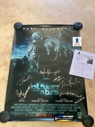 Tim Burton Signed Planet Of The Apes Cast Signed Poster 27x40 Bas Coa Beckett