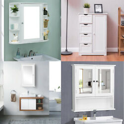 Bathroom Kitchen Medicine Storage Cabinet w Cabinet Shelf White