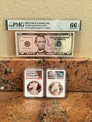 2012-s Eagle Coin And Currency Set Pf 70 Trolley Car Label Pmg 5 Graded Gu 66.