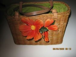 REDUCED AGAIN VINTAGE KATE SPADE STRAW BAG W REMOVABLE FLOWERS