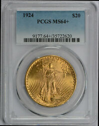 1924 20 Ms 64 + Plus Pcgs Gold Double Eagle Saint Gaudens Coin Free Shipping