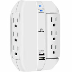 6 Outlet Surge Protector With 2 Usb Charger Ports Wall Outlet [etl Listed]