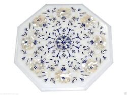 1'x1' White Marble Coffee Table Top Mother Of Pearl Lapis Arts Inlay Decor Gifts