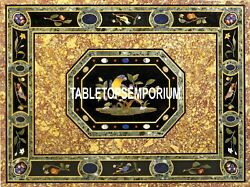 4'x3' Black Marble Top Dining Table Birds Art Marquetry Inlay Hallway Home Decor