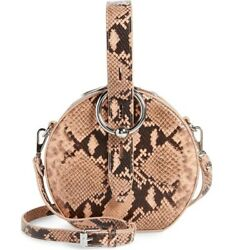 New Rebecca Minkoff Kate Snakeskin- Embossed Leather Circle Bag In Rosewood