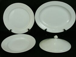 Royal Copenhagen White Half Lace 14 Platter 10 3/4 And 10 Dinner Plates And Lid