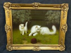 Sweet Kittens Oil Painting Signed By Heyer