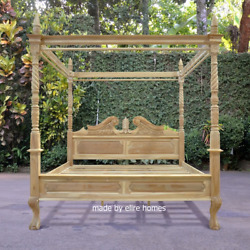 Usa King 76x80 Teak Wood Four Poster Canopy Chippendale Queen Anne Bed