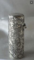 Victorian Silver Scent Bottle, Engraved. London 1884 By Cm