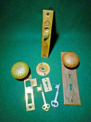 Vintage M And W Double Keyed Entry Mortise Lock W/knobs And Plates And Keys 12514