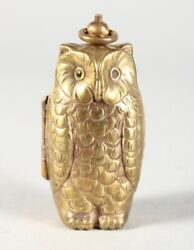 Vintage Brass Double Sovereign Case Owl Figure With Glass Eyes