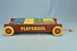 Vintage Playskool Red Wagon Pull Toy With 50 Wooden Wood Building Blocks 00409