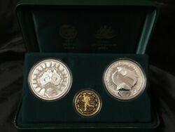 Sydney 2000 Olympic Gold And Silver 3 Proof Coin Set 2 Dedication I