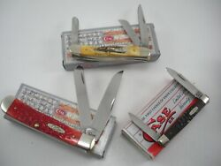 NOS LOT OF 3 CASE KNIVES NEVER USED IN BOX BS STOCKMAN TRAPPER PEN