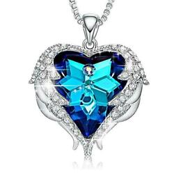 Silver Angel Wings Blue Heart Crystal Necklace Made with Swarovski Crystals $10.99