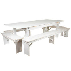 Hercules Series 8' X 40 Antique Rustic White Folding Farm Table And Four Ben...