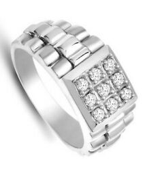 Menand039s Diamond Ring Solid White Gold Gents Engagement Hallmarked British Made