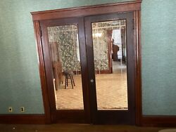 """Vintage Set Solid Wood French Door And Glass Panels Etching 32""""x80"""""""