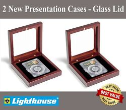 2 Lighthouse Certified Coin Slab Presentation Gift Display Boxes W/ Window