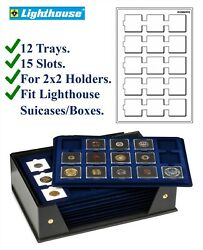 12 Lighthouse Blue 2x2 Coin Trays 15 50x50mm Space For Cardboard / Snaplock Flip