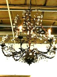 Hand Made Imported Bronze And Crystal 6 Light Chandelier