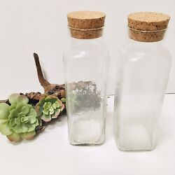 """Tall Glass Jars With Cork Lids 2 Glass Is 10"""" Tall Apothecary Decor Kitchen"""