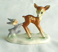 Goebel Bambi And Thumper On Base Vintage Disney Marked V W/bee 1950s Dis10