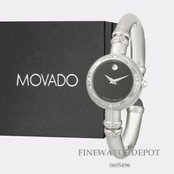Authentic Movado Ladies Bareleto Stainless Steel With Diamond Watch 0605496