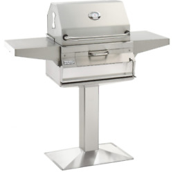 Fire Magic 24 Inch Patio Post Mount Stainless Steel Charcoal Grill Analog