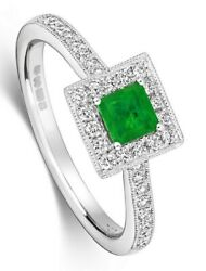 Square Emerald And Diamond Engagement Ring 18k White Gold Certificate Size J-q