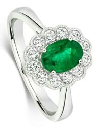 Emerald And Diamond Ring 18k White Gold Cluster Halo Certificate Size J-q