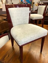 Lacquer And Chenille Dining Chairs Set Of 6