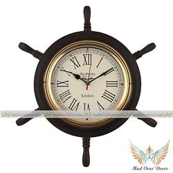 18quot; Wooden Ship Wheel Wall Clock Antique Look Beautiful Gift For Office Decor