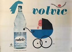 And039volvicand039 Original Vintage French Water Advertising Poster Retro Circa 1960