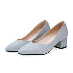 Women Party Wedding Shoes Square Heels Pointed Toe Ladies Shallow Heels