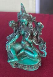 Green Tara Statue from Nepal for Dharma 4 1 2quot; Height Turquoise Resin $19.99