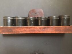 Antique Spice Tin Set. Six Tins With Wood Holding Tray.